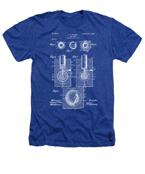 1902 Golf Ball Patent Artwork - Blueprint Heathers T-Shirt by Nikki Marie Smith