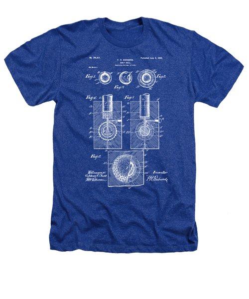 1902 Golf Ball Patent Artwork - Blueprint Heathers T-Shirt