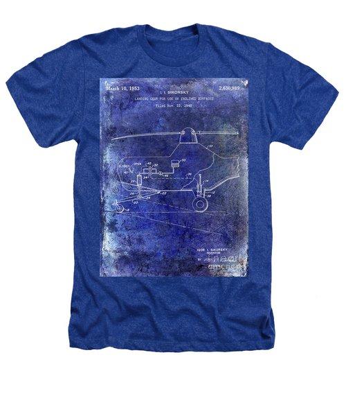 1953 Helicopter Patent Blue Heathers T-Shirt by Jon Neidert