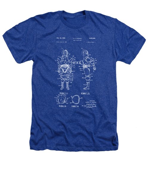 1968 Hard Space Suit Patent Artwork - Blueprint Heathers T-Shirt