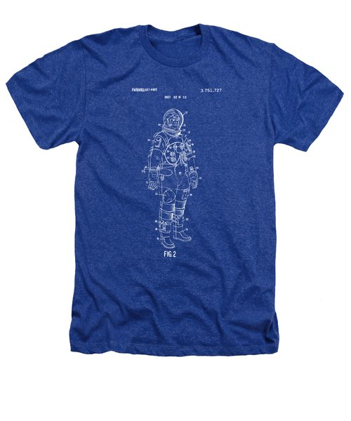 1973 Astronaut Space Suit Patent Artwork - Blueprint Heathers T-Shirt