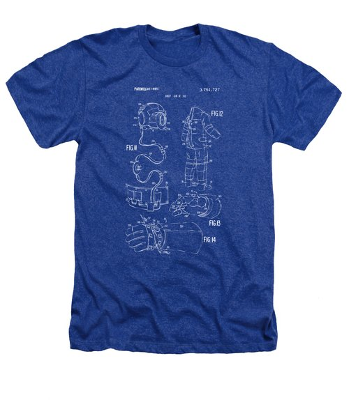 1973 Space Suit Elements Patent Artwork - Blueprint Heathers T-Shirt