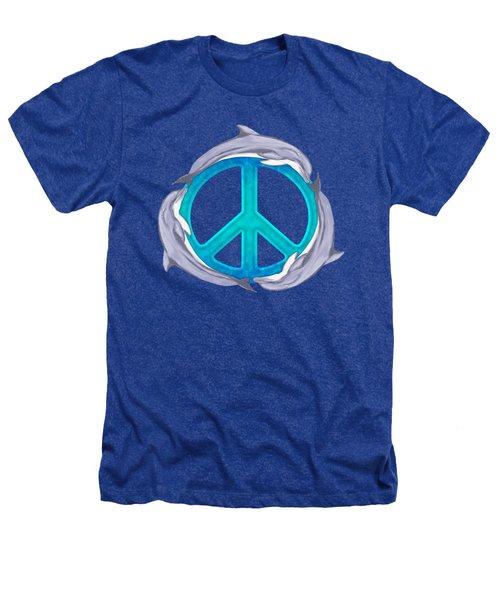 Dolphin Peace Heathers T-Shirt by Chris MacDonald
