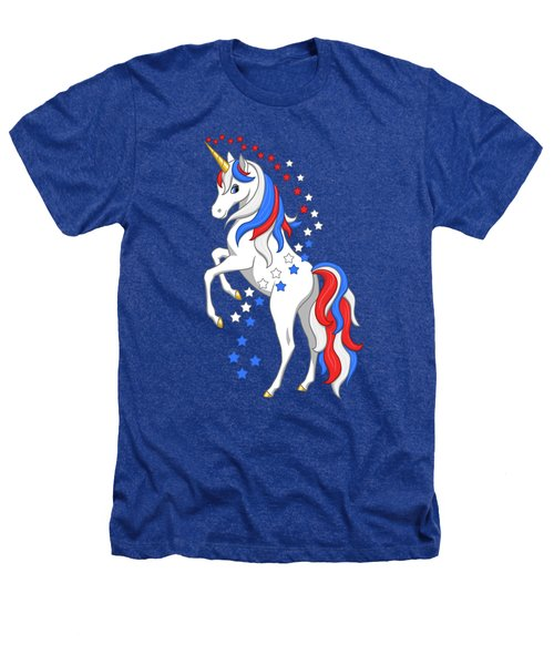 American Flag Patriotic Unicorn Heathers T-Shirt