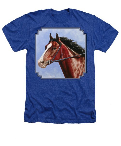 Horse Painting - Determination Heathers T-Shirt by Crista Forest