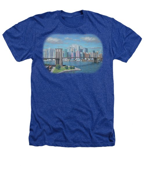 New York Brooklyn Bridge Heathers T-Shirt by Renato Maltasic