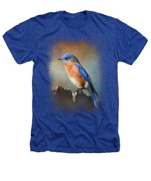 Bluebird On The Fence Heathers T-Shirt