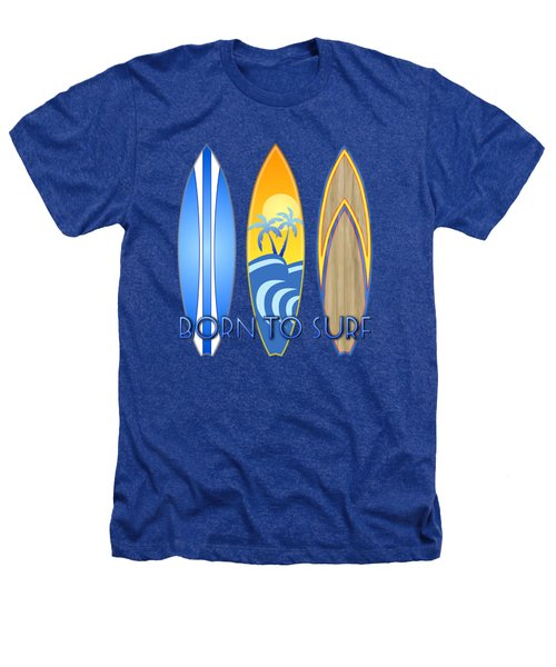 Born To Surf And Tiki Masks Heathers T-Shirt by Chris MacDonald