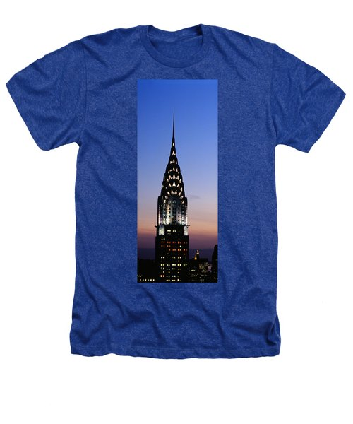 Building Lit Up At Twilight, Chrysler Heathers T-Shirt by Panoramic Images