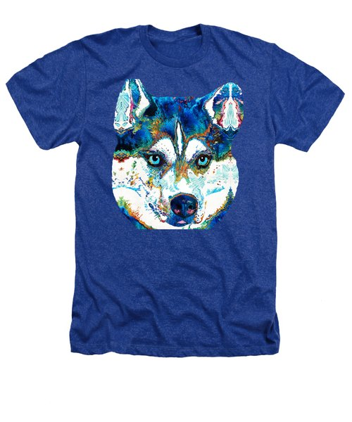 Colorful Husky Dog Art By Sharon Cummings Heathers T-Shirt by Sharon Cummings