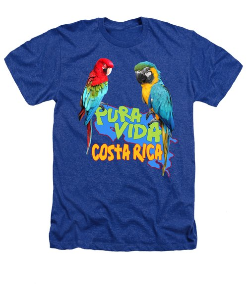 Costa Rican Macaws Heathers T-Shirt by Linda Bissett