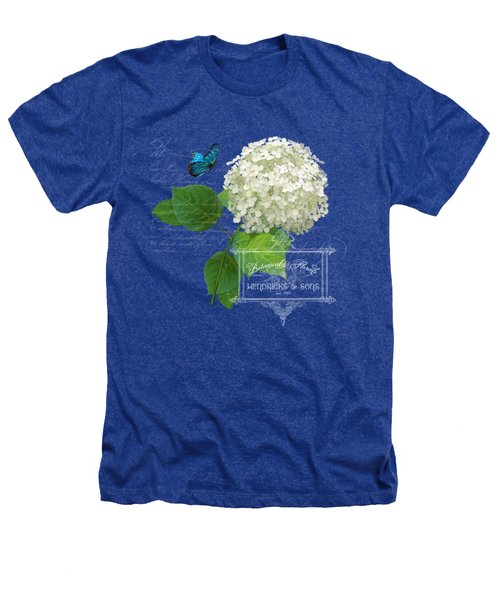 Cottage Garden White Hydrangea With Blue Butterfly Heathers T-Shirt by Audrey Jeanne Roberts