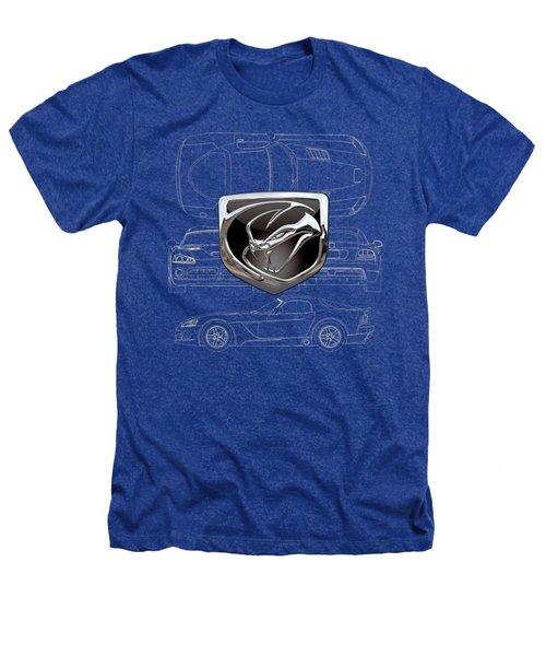 Dodge Viper  3 D  Badge Over Dodge Viper S R T 10 Blueprint  Heathers T-Shirt by Serge Averbukh