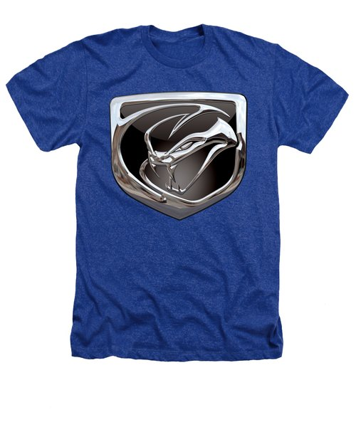 Dodge Viper 3 D  Badge Special Edition On Blue Heathers T-Shirt by Serge Averbukh