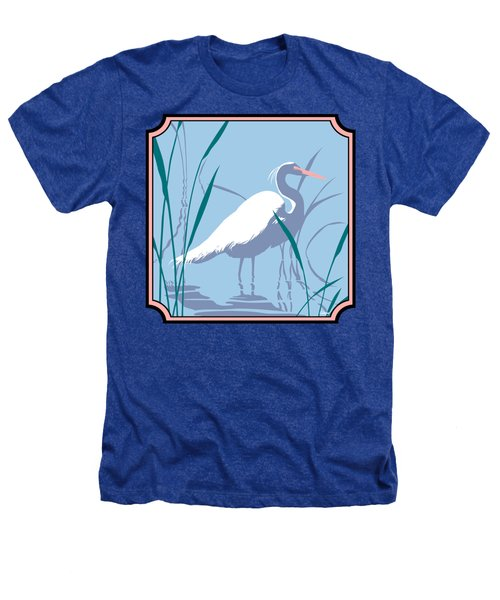 Egret Tropical Abstract - Square Format Heathers T-Shirt