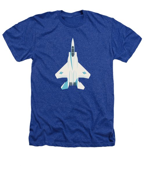 F15 Eagle Fighter Jet Aircraft - Blue Heathers T-Shirt