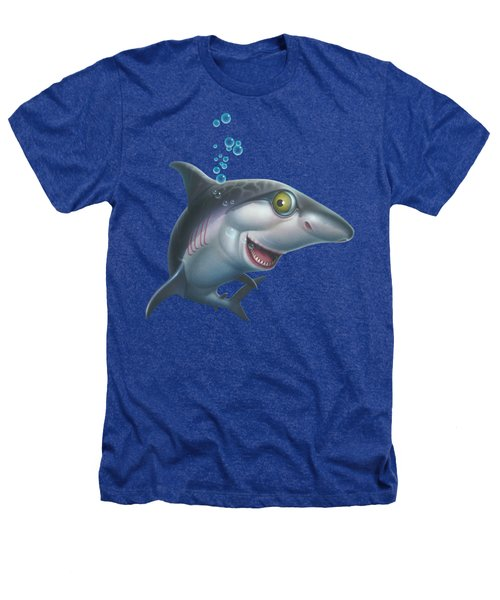 friendly Shark Cartoony cartoon under sea ocean underwater scene art print blue grey  Heathers T-Shirt