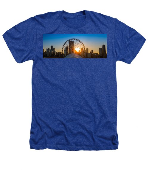 Navy Pier Sundown Chicago Heathers T-Shirt by Steve Gadomski