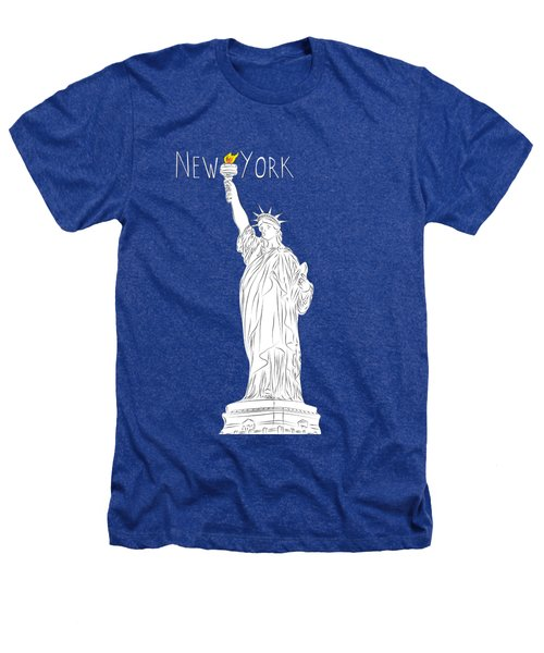 Ny Statue Of Liberty Line Art Heathers T-Shirt by BONB Creative