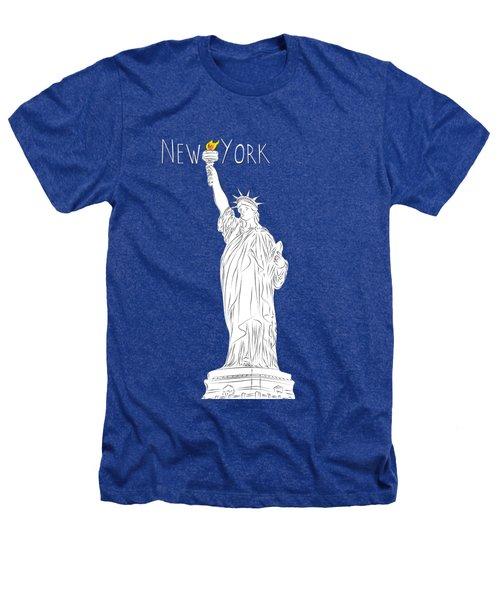 Ny Statue Of Liberty Line Art Heathers T-Shirt