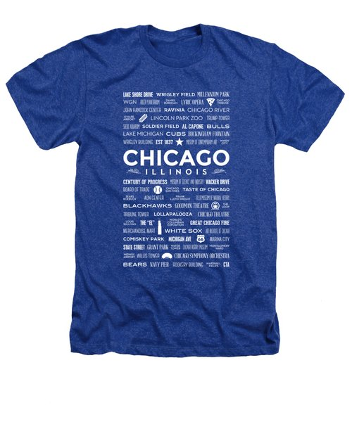 Places Of Chicago On Blue Chalkboard Heathers T-Shirt by Christopher Arndt