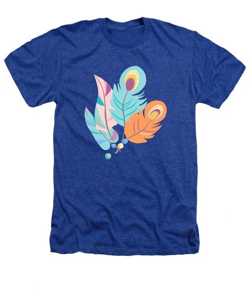 Pretty Boho Peacock Feather Pattern Heathers T-Shirt