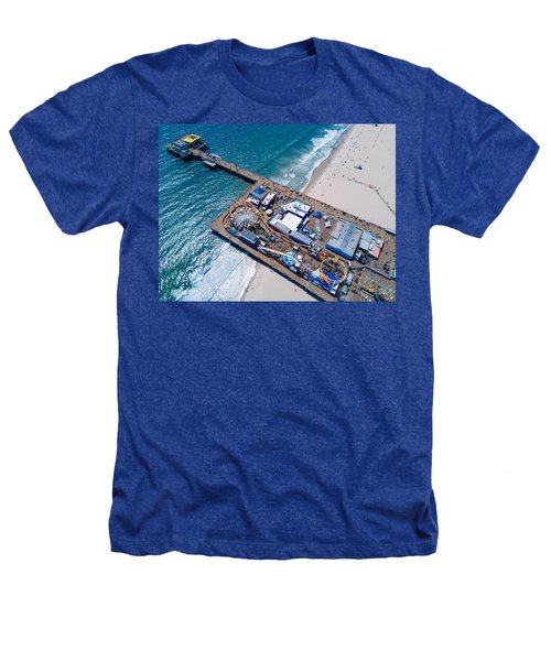 Santa Monica Pier From Above Side Heathers T-Shirt by Andrew Mason