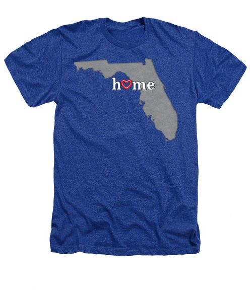 State Map Outline Florida With Heart In Home Heathers T-Shirt by Elaine Plesser