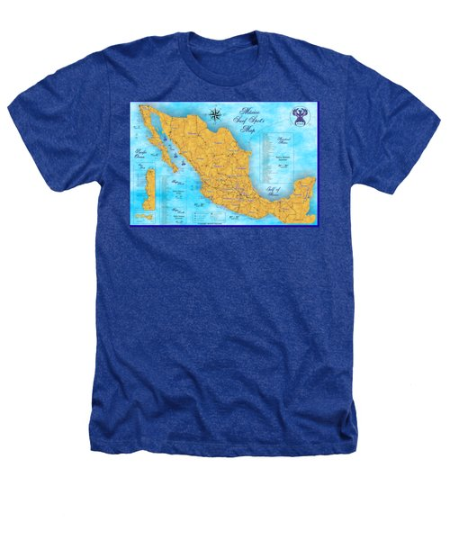 Mexico Surf Map  Heathers T-Shirt by Lucan Hirales