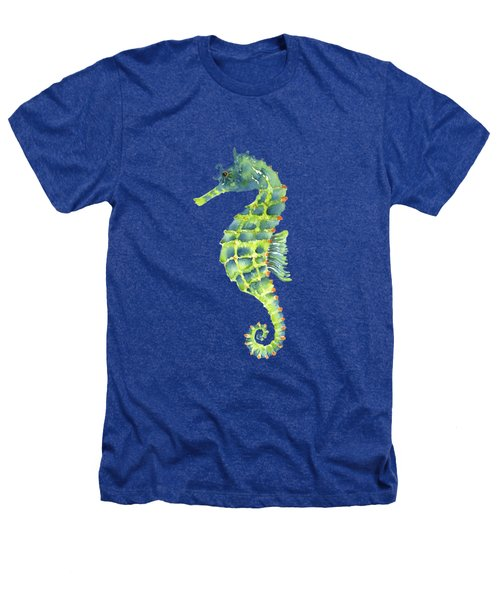 Teal Green Seahorse - Square Heathers T-Shirt by Amy Kirkpatrick