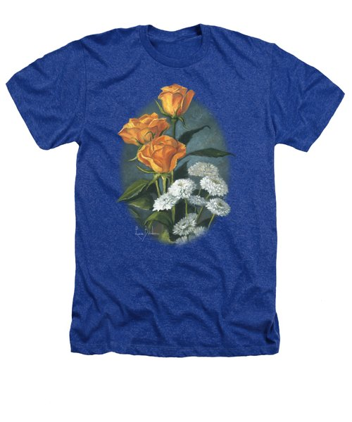 Three Roses Heathers T-Shirt by Lucie Bilodeau