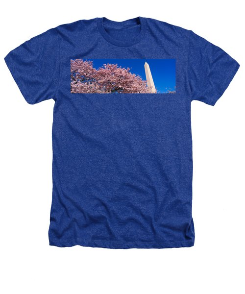Washington Monument & Spring Cherry Heathers T-Shirt by Panoramic Images