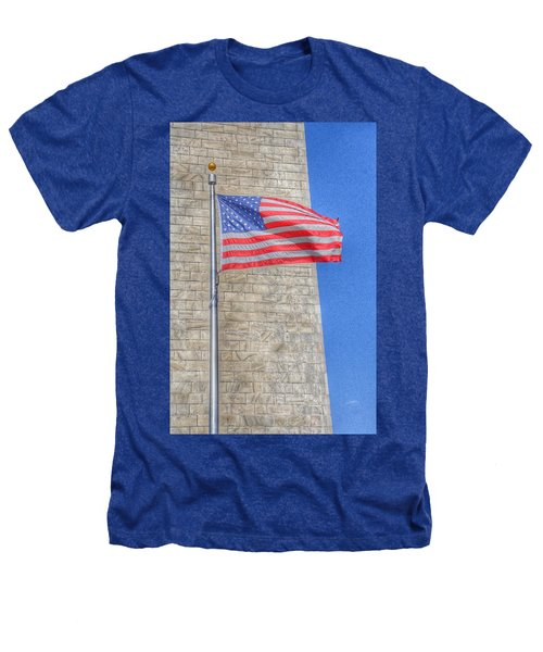 Washington Monument With The American Flag Heathers T-Shirt