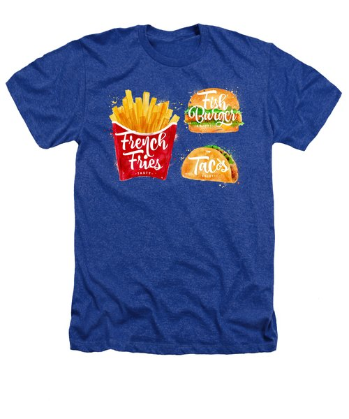 White French Fries Heathers T-Shirt by Aloke Creative Store