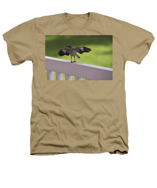 A Little Visitor Northern Mockingbird Heathers T-Shirt by Terry DeLuco