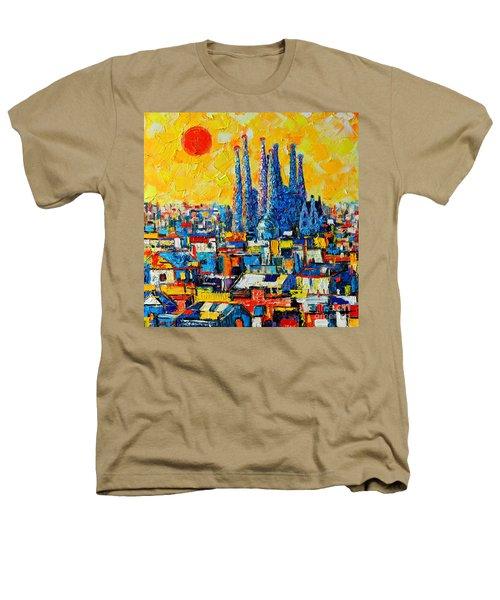 Abstract Sunset Over Sagrada Familia In Barcelona Heathers T-Shirt
