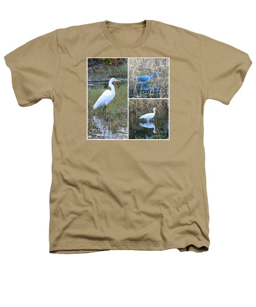 Birds On Pond Collage Heathers T-Shirt by Carol Groenen