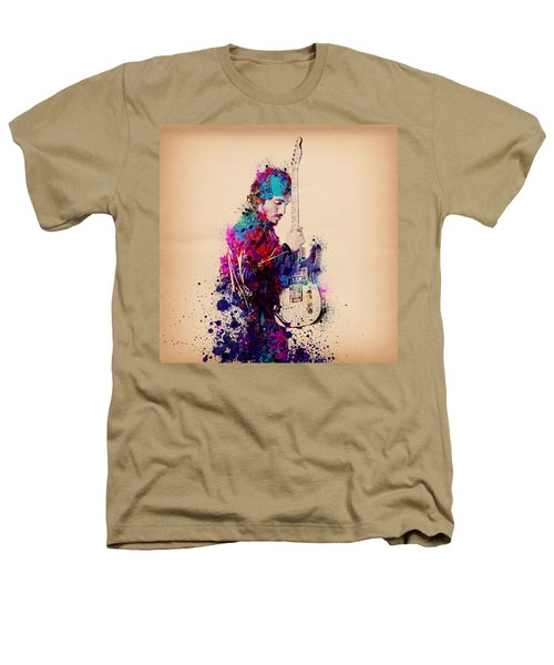 Bruce Springsteen Splats And Guitar Heathers T-Shirt by Bekim Art