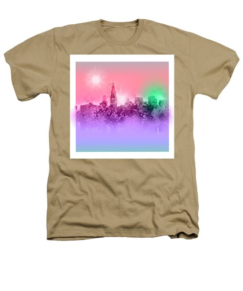 Chicago Skyline Abstract 3 Heathers T-Shirt