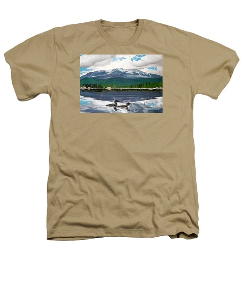 Common Loon On Togue Pond By Mount Katahdin Heathers T-Shirt