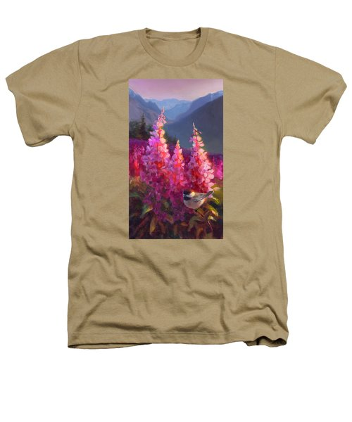 Eagle River Summer Chickadee And Fireweed Alaskan Landscape Heathers T-Shirt