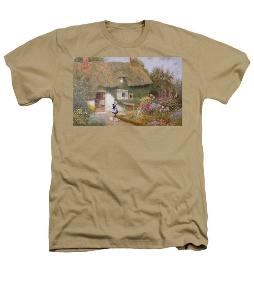 Feeding The Pigeons Heathers T-Shirt by Arthur Claude Strachan