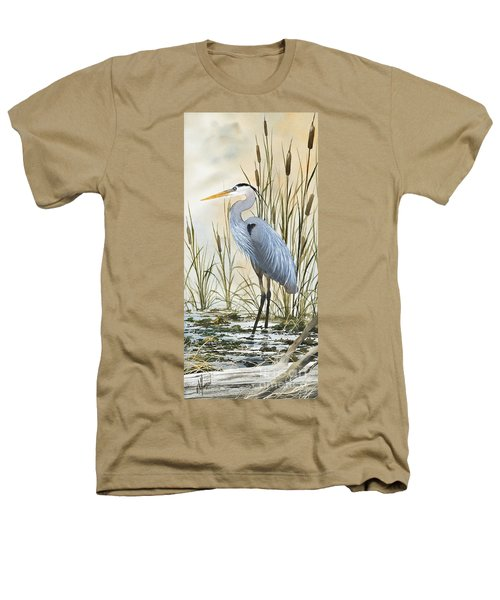 Heron And Cattails Heathers T-Shirt
