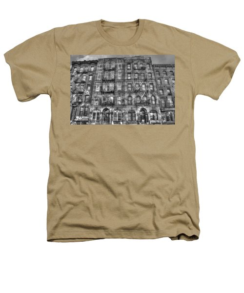 Led Zeppelin Physical Graffiti Building In Black And White Heathers T-Shirt