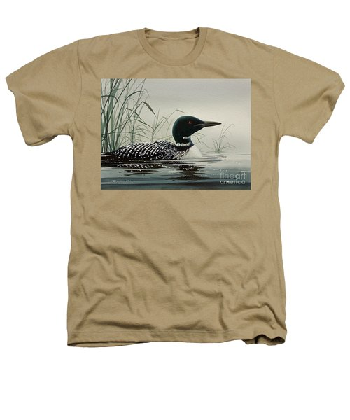 Loon Near The Shore Heathers T-Shirt by James Williamson