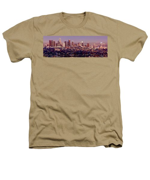 Los Angeles Skyline At Dusk Heathers T-Shirt by Jon Holiday