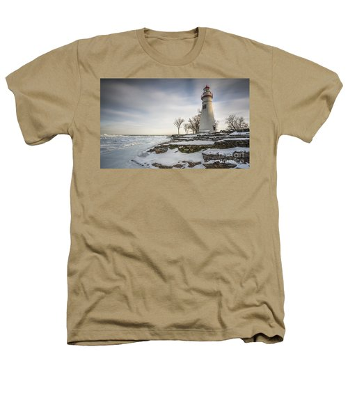 Marblehead Lighthouse Winter Heathers T-Shirt by James Dean
