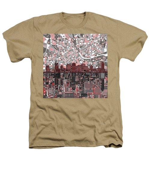 Nashville Skyline Abstract 3 Heathers T-Shirt by Bekim Art