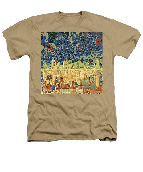 Nashville Skyline Abstract 9 Heathers T-Shirt by Bekim Art