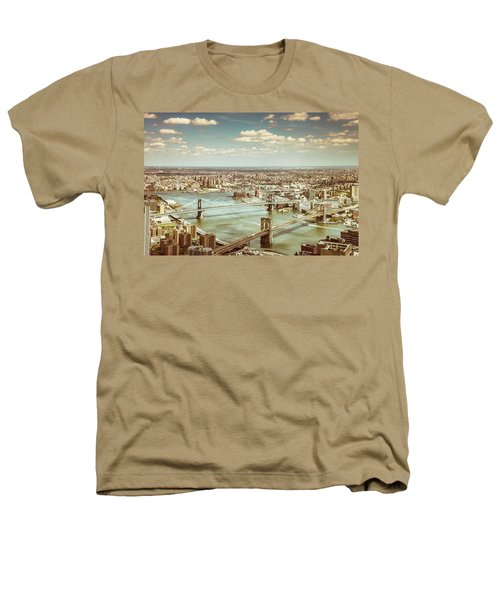 New York City - Brooklyn Bridge And Manhattan Bridge From Above Heathers T-Shirt by Vivienne Gucwa
